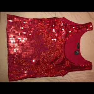 Moda International Red Sparkly Holiday Tank Top